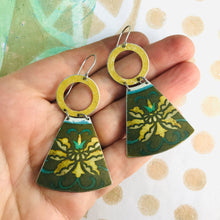 Load image into Gallery viewer, Vintage Yellow Blossoms Small Fans Tin Earrings