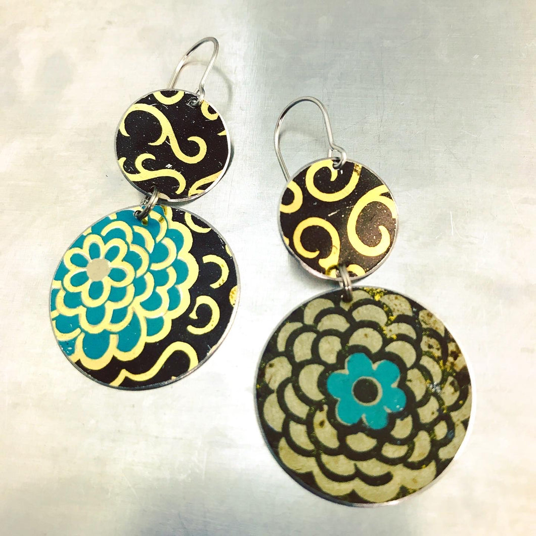 Vintage Mixed Circle Flowers Upcycled Tin Earrings