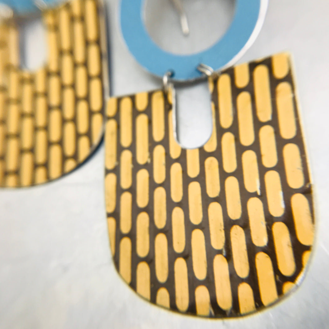 Vintage Buckskin Pattern & Blue Chunky Horseshoes Zero Waste Tin Earrings