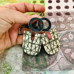 Wrought Iron Shimmery Gold Chunky Horseshoes Zero Waste Tin Earrings