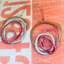 Load image into Gallery viewer, Gold, Snow, Scarlet & Bubblegum Scribbles Again Upcycled Tin Earrings