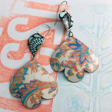 Load image into Gallery viewer, Faded Tapestry Trefoil Upcyled Tin Earrings