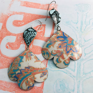 Faded Tapestry Trefoil Upcyled Tin Earrings