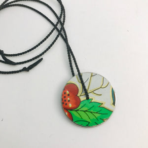 Vintage Orange-y Flower & Green Leaf Circle Upcycled Tin Flip-Flop Necklace