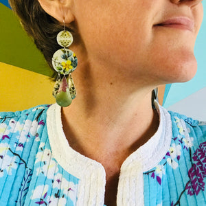 Flowers and Mixed Aquas Zero Waste Tin Chandelier Earrings