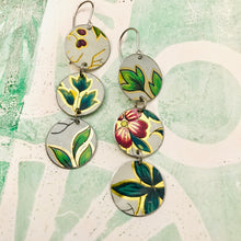Load image into Gallery viewer, Vintage Flowers Multi Circle Upcycled Tin Earrings