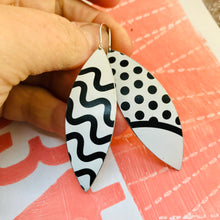 Load image into Gallery viewer, Black & White Lines Upcycled Tin Leaf Earrings