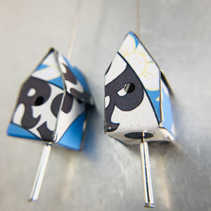 Big Rs on Blue Tiny Tin Birdhouse Earrings