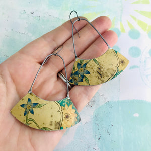 Weathered Bluets Wide Arc Zero Waste Earrings