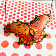 Load image into Gallery viewer, Big Orange Butterfly Upcycled Tin Necklace Tin Anniversary Gift