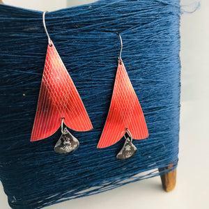 Shimmery Etched Red Arrowheads Vintage Tin Arrowhead Earrings