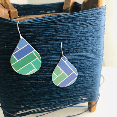 Blue & Green Subway Tile Pattern Upcycled Teardrop Tin Earrings by adaptive reuse jewelry