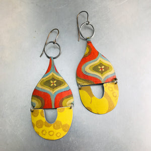 Fossil Mod Golds & Oranges Mixed Arches Upcycled Tin Earrings