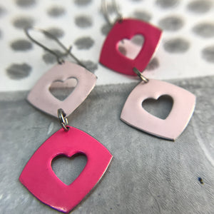 Duo Pinks Cutout Hearts Tiny Tin Earrings