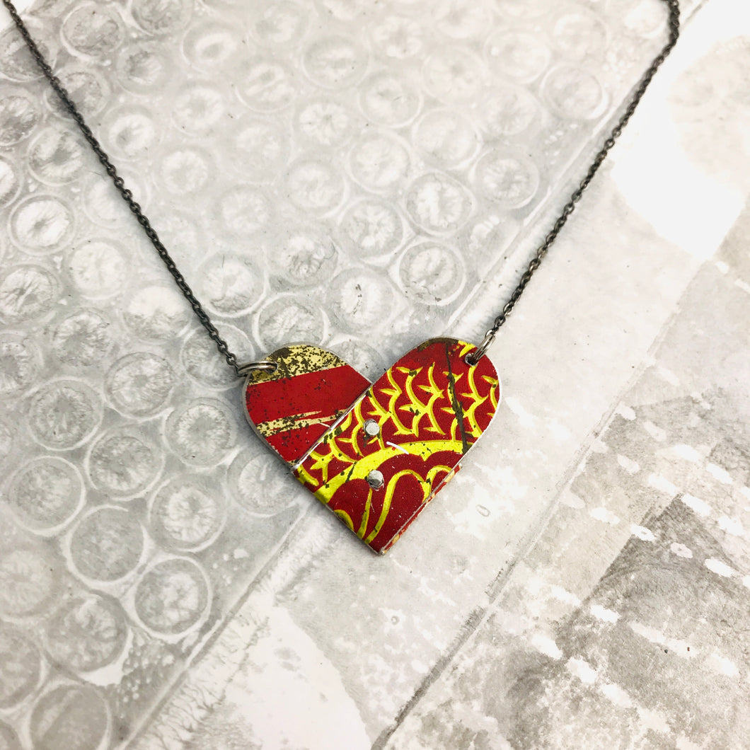 Mixed Deep Reds Folded Heart Reversible Tin Necklace
