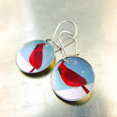 Winter Cardinal Upcycled Tiny Dot Earrings