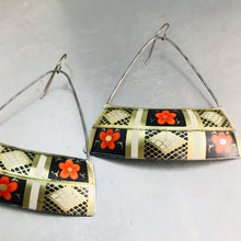 Load image into Gallery viewer, Orange Blossoms Wide Arc Recycled Tin Earrings