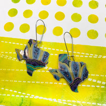 Load image into Gallery viewer, Big Paisley Texas Upcycled Tin Earrings