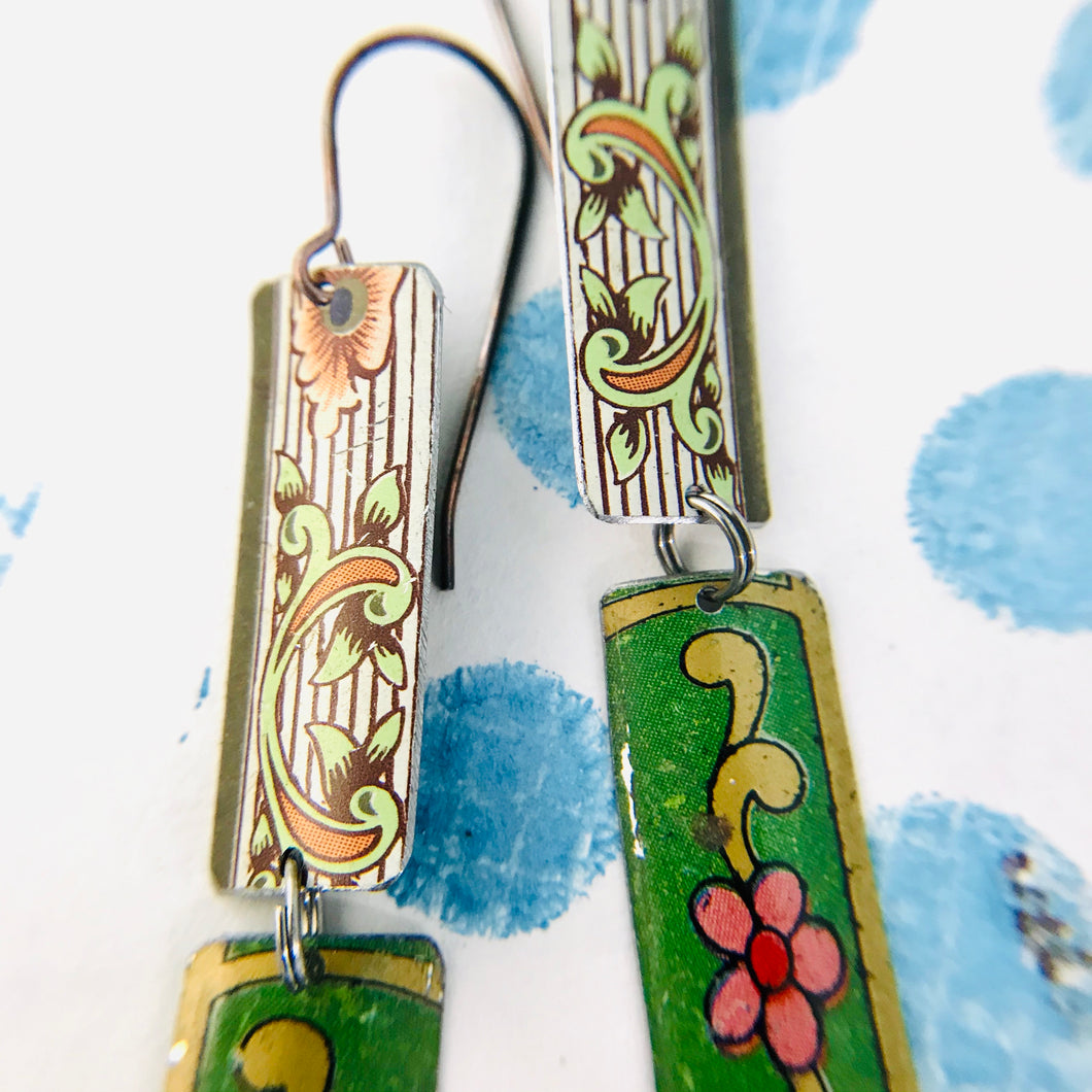 Mixed Vintage Edge Pattern Edge Recycled Tin Earrings
