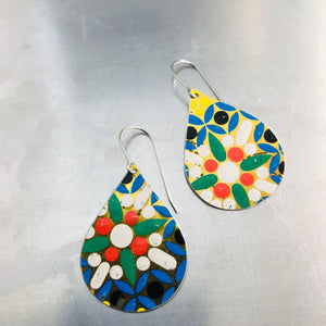 Mosaic White Flower Upcycled Teardrop Tin Earrings