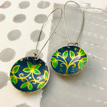 Load image into Gallery viewer, Vintage Blue & Green Leaves Large Basin Tin Earrings