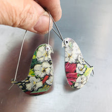 Load image into Gallery viewer, White Flowers Birds on a Wire Upcycled Tin Earrings
