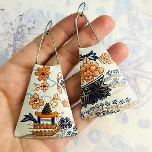 Stylized Springtime Upcycled Tin Long Fans Earrings