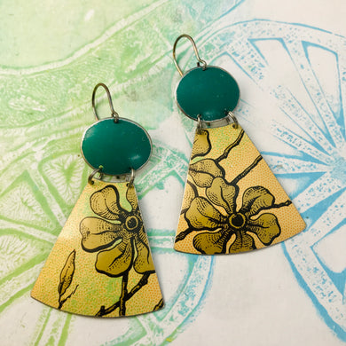 Golden Blossoms and Emerald Ovals Small Fans Zero Waste Tin Earrings
