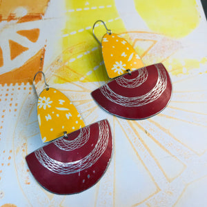 Sunny and Red Spirograph Upcycled Tin Boat Earrings