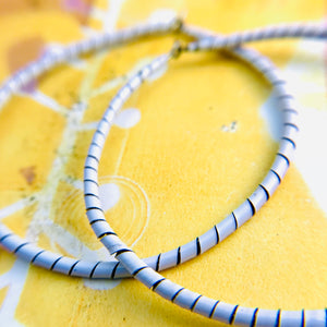 Spiraled Tin Big White Hoop Earrings