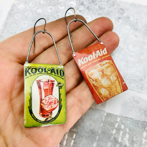 Vintage Kool-aid Packets Arched Wire Tin Earrings