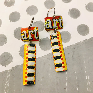 Art Rectangles Recycled Tin Earrings