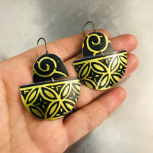 Load image into Gallery viewer, Black and Gold Boats Upcycled Tin Earrings