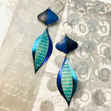 Load image into Gallery viewer, Shimmery Blues Rex Ray Zero Waste Tin Earrings