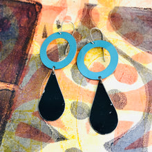 Load image into Gallery viewer, Black Teardrops Aqua Rings Upcycled Teardrop Tin Earrings