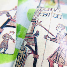 Load image into Gallery viewer, Bayeux Tapestry Soldiers Upcycled Tin Long Fans Earrings