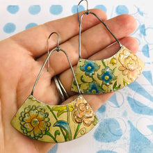 Load image into Gallery viewer, Vintage Flowers Wide Arc Zero Waste Earrings