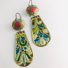 Load image into Gallery viewer, Vintage Arts and Craft Style Zero Waste Tin Earrings Ethical Jewelry