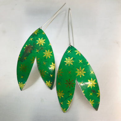 Paris Green Golden Starlets Upcycled Tin Double Leaf Earrings