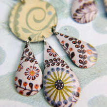 Load image into Gallery viewer, Mixed Pale Patterns Zero Waste Tin Chandelier Earrings