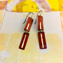 Load image into Gallery viewer, Deep Rich Red & Gold Leaf Recycled Tin Earrings