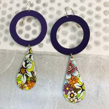 Load image into Gallery viewer, Big Purple Ring & Flowers Tin Long Teardrops Earrings