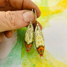 Load image into Gallery viewer, Pale Yellow Kilim Small Long Pods Upcycled Tin Leaf Earrings