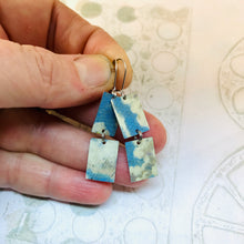 Load image into Gallery viewer, Cloudy Day Upcycled Rectangles Tin Earrings