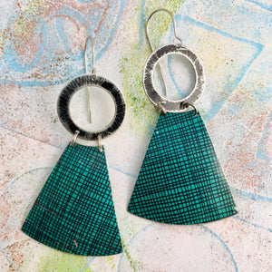 Teal Screen Pattern Small Fans Tin Earrings