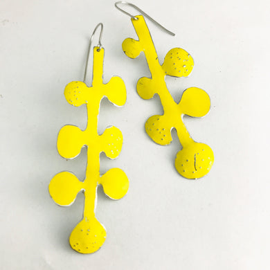 Bright Yellow Matisse Leaves Upcyled Tin Earrings by Christine Terrell for adaptive reuse jewelry