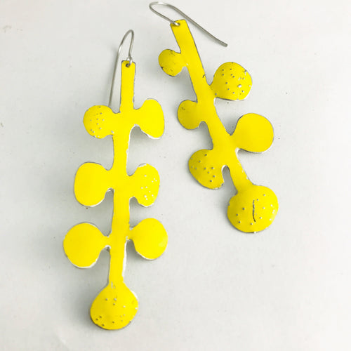 Bright Yellow Matisse Leaves Upcyled Tin Earrings