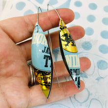 Load image into Gallery viewer, Jasmine Tea Long Pods Upcycled Tin Leaf Earrings