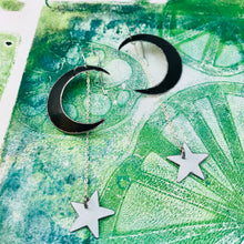 Load image into Gallery viewer, Black Crescents White Stars Upcycled Tin Earrings