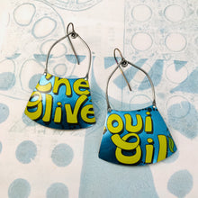 Load image into Gallery viewer, Olive Oil Shimmery Blue Zero Waste Tin Earrings